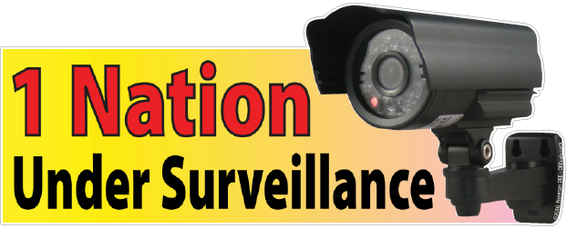 a DEEcal featuring a security camera that reads 'One Nation Under Surveillance'