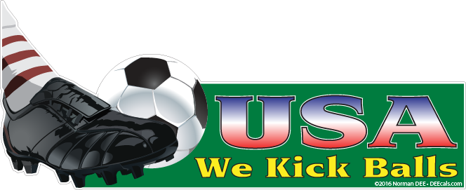 a DEEcal that reads 'USA: Kicks Balls' as the United States won the international soccer championship