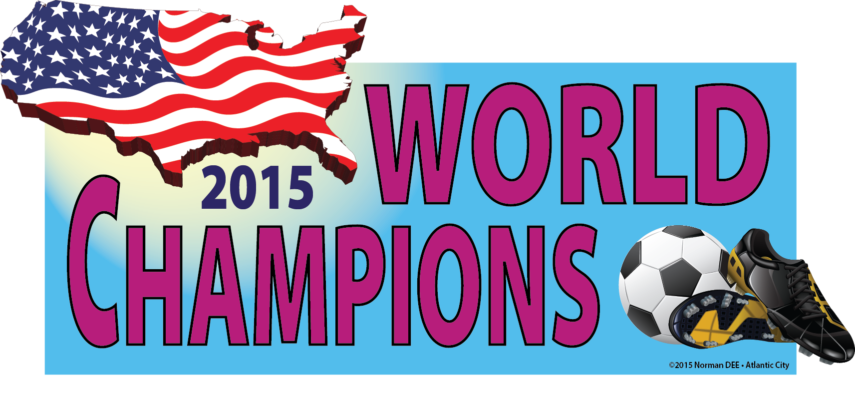 a DEEcal that reads '2015 World Champions' as the United States won the international soccer championship
