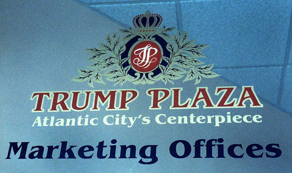 screen printed glass in Trump Plaza reading 'Trump Plaza Atlantic City's Centerpiece, Marketing Offices'
