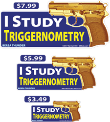 I Study Triggernometry deecal, deecals, study, school, education, trigonometry, college, math, trigger, triggernometry, student, studious, warning, shot, shots, warning shots, BersaThunder, Bersa Thunder, Bersa, Thunder