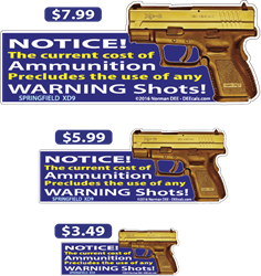 Ammunition Cost deecal, deecals, notice, ammunition, ammo, cost, warning, shot, shots, warning shots, springfield, xd9, springfield xd9